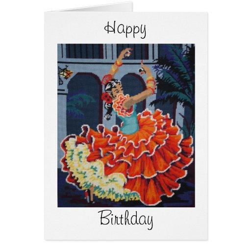 Tarjeta del feliz cumpleaños del bailarín del flam