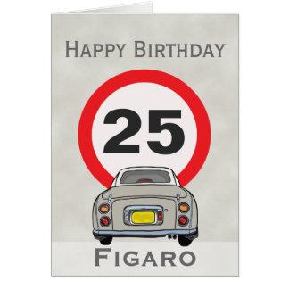 Tarjeta del feliz cumpleaños del coche de Figaro