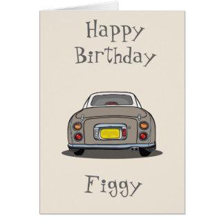 Tarjeta del feliz cumpleaños del coche de Nissan
