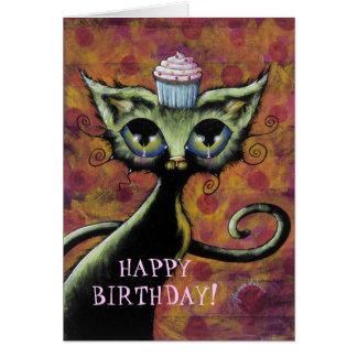Tarjeta del feliz cumpleaños del gato de la magdal