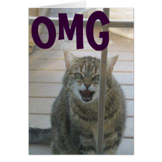 tarjeta del feliz cumpleaños del gato del omg