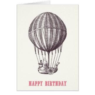 Tarjeta del feliz cumpleaños del globo del vintage