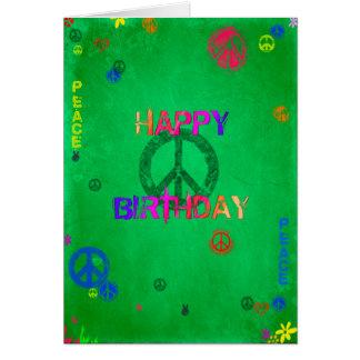 Tarjeta del feliz cumpleaños del Hippie