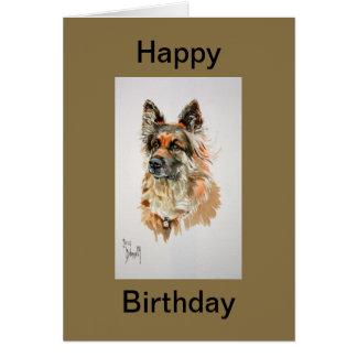 Tarjeta del feliz cumpleaños del pastor alemán