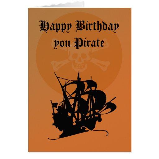 Tarjeta del feliz cumpleaños del pirata