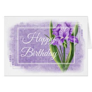 Tarjeta del feliz cumpleaños - iris púrpura d2