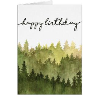 Tarjeta del feliz cumpleaños para él, árboles de