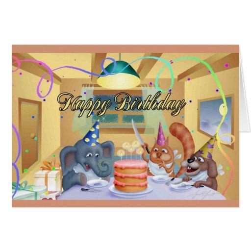 Tarjeta del feliz cumpleaños (perro, gato y elefan