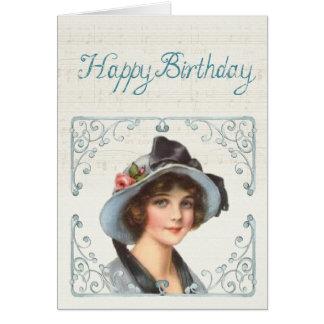 Tarjeta del feliz cumpleaños: Señora joven y una