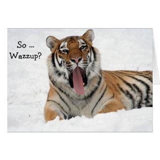 Tarjeta del feliz cumpleaños: Tigre de bostezo en