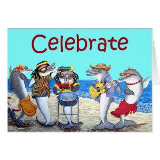 Tarjeta del fiesta de la playa del delfín