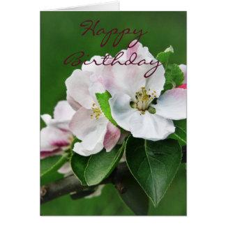 Tarjeta del flor del manzano