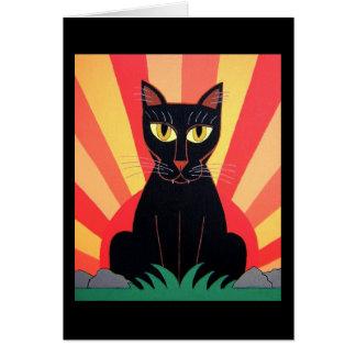 Tarjeta del gato de pantera negra