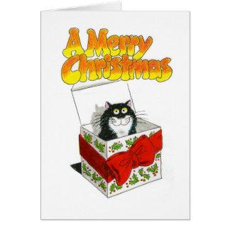 Tarjeta del gato del navidad - Jack en una caja