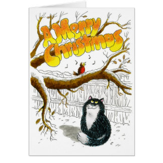 Tarjeta del gato del navidad - petirrojo