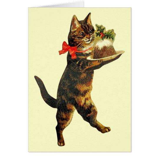 Tarjeta del gato del pudín del navidad del vintage