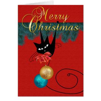 Tarjeta del gato negro y de las Felices Navidad de