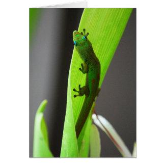 Tarjeta del Gecko del día del polvo de oro