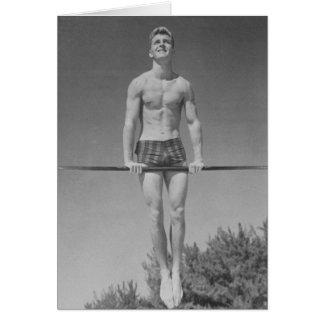 Tarjeta del gimnasta del vintage