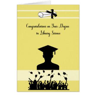 Tarjeta del grado en biblioteconomía con el Grad.