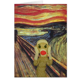 Tarjeta del grito del mono del calcetín
