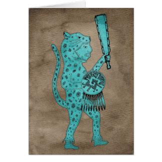 Tarjeta del guerrero de Jaguar (azul en marrón)