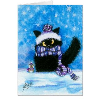 Tarjeta del hámster del gato de la nieve del