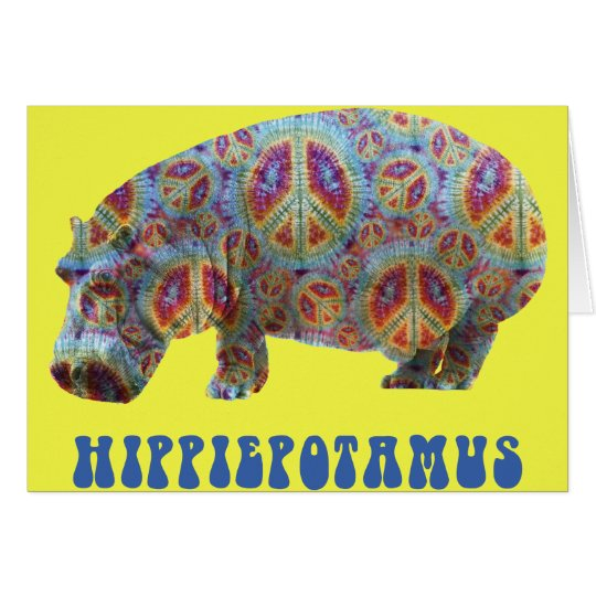 Tarjeta del Hippopotamus del hippy del Hippie de