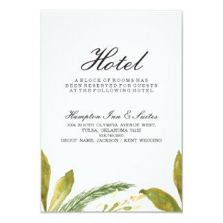 Tarjeta del hotel del boda de la caída - verdor