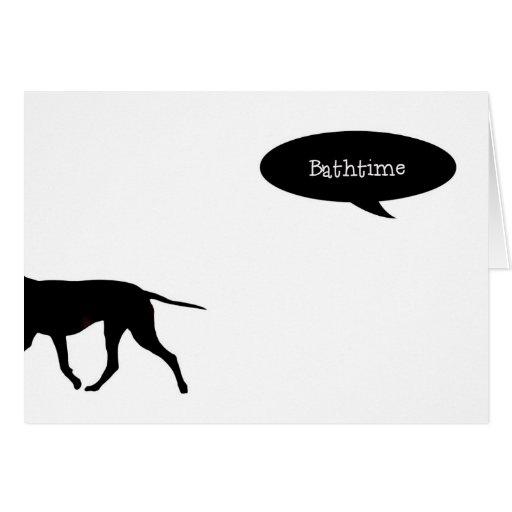 Tarjeta del humor de Bathtime del perro