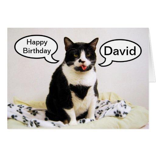 Tarjeta del humor de David del cumpleaños del gato