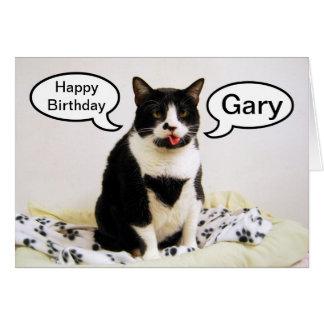 Tarjeta del humor de Gary del cumpleaños del gato