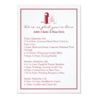 Tarjeta del ITINERARIO del FIN DE SEMANA del boda Invitación 12,7 X 17,8 Cm