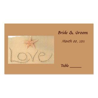 Tarjeta del lugar de la tabla del amor de la playa plantillas de tarjetas de visita