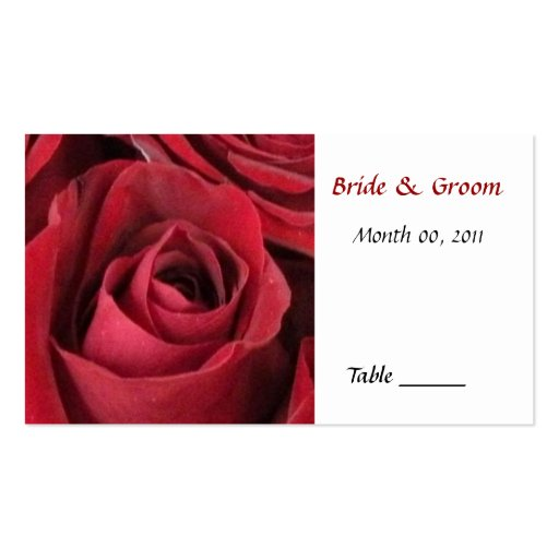 Tarjeta del lugar de la tabla del rosa rojo tarjeta de visita
