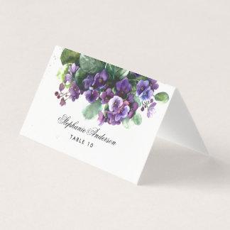 Tarjeta del lugar del boda de la flor de la viola