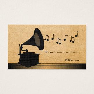 Tarjeta del lugar del gramófono del vintage del