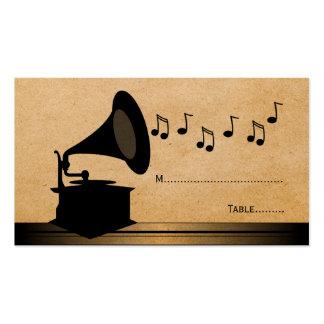 Tarjeta del lugar del gramófono del vintage del tarjetas de visita
