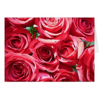Tarjeta del manojo de los rosas rojos