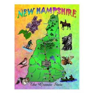 Tarjeta del mapa del estado de New Hampshire