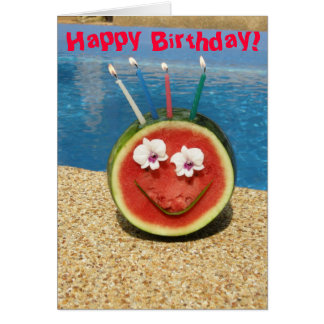 Tarjeta del melón del feliz cumpleaños