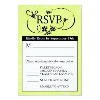 tarjeta del menú de 3.5x5 RSVP - blanco y negro Invitación 8,9 X 12,7 Cm
