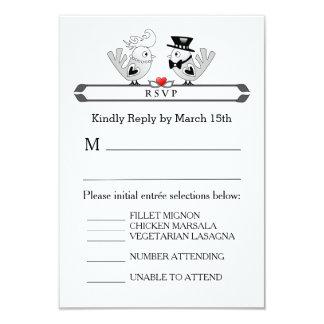 tarjeta del menú de 3.5x5 RSVP - el blanco negro Invitación 8,9 X 12,7 Cm