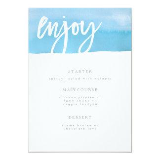 Tarjeta del menú del boda, acuarela azul invitación 12,7 x 17,8 cm