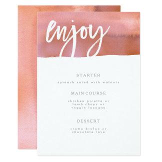 Tarjeta Tarjeta del menú del boda, coral, acuarela rosada