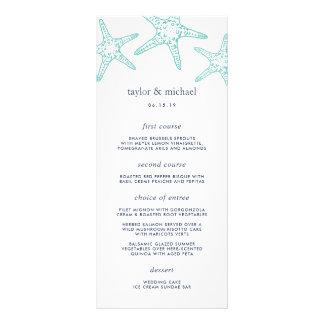 Tarjeta del menú del boda de la aguamarina y de