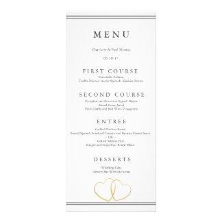 Tarjeta del menú del boda del corazón del oro tarjeta publicitaria a todo color