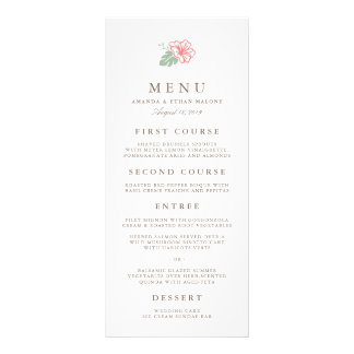Tarjeta del menú del boda del hibisco de la isla