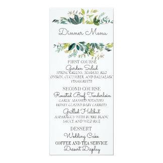 Tarjeta del menú del boda del ramo del verdor
