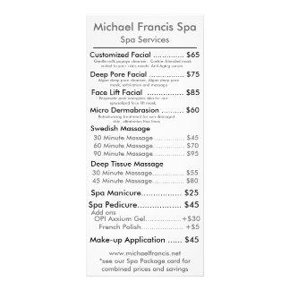 Tarjeta del menú del precio